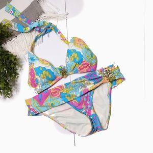 Trina Turk Swim 10 Two Piece Bikini Foldover Waist